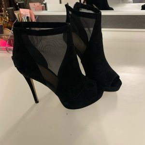 high heel mesh/suede booties